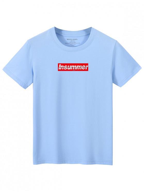 women Short Sleeve Letters Print T-shirt - LIGHT BLUE XL