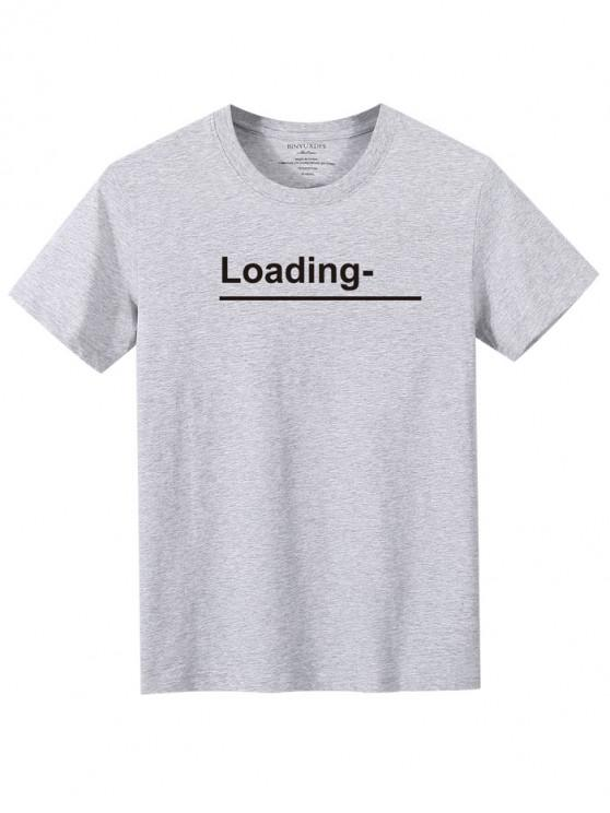 online Loading Graphic Crew Neck Casual Tee - GRAY XL