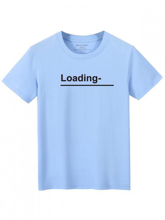 Camiseta Casual con Cuello Redondo y Estampado de Flor - Azul Claro XL