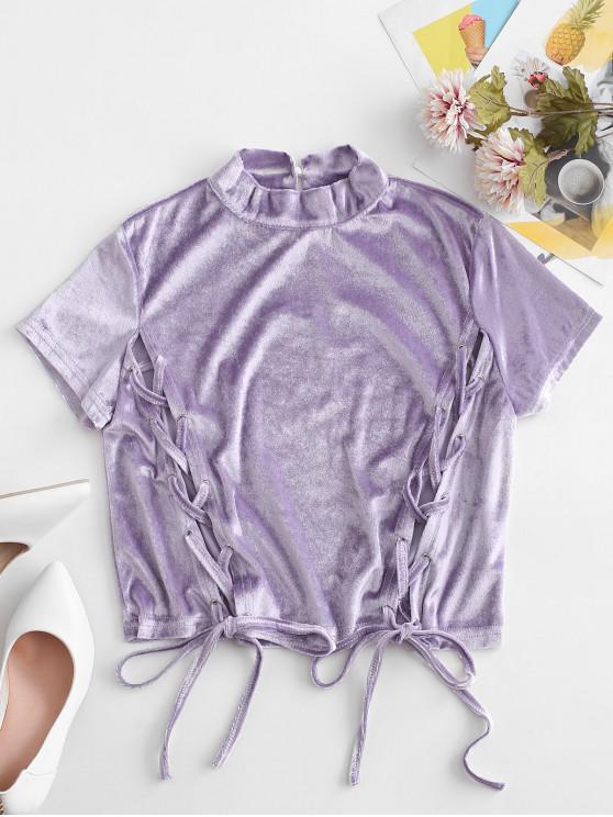Camiseta cropped halter com renda e alças Cortado - Roxa L