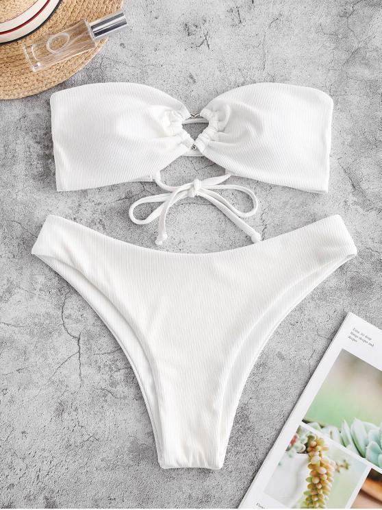 lady ZAFUL Ribbed Lace Up High Cut Bandeau Bikini Swimsuit - WHITE S