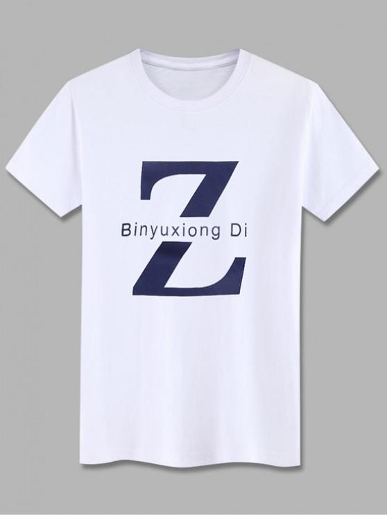 Basic Letter Z Graphic T Shirt - أبيض XS