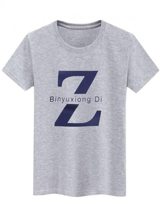best Basic Letter Z Graphic T Shirt - GRAY XS