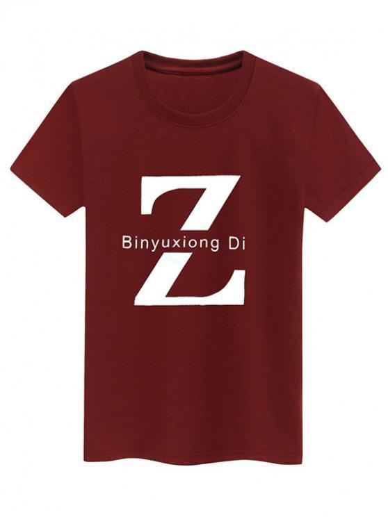 Basic Letter Z Graphic T Shirt - نبيذ احمر XL