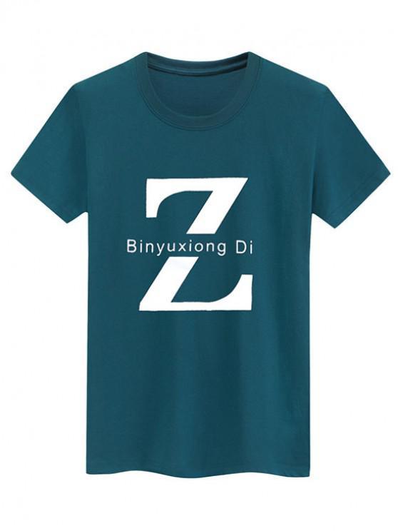 fashion Basic Letter Z Graphic T Shirt - MEDIUM AQUAMARINE XS