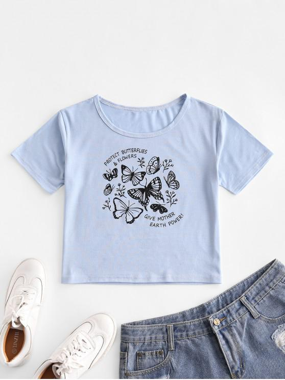 fashion Basic Letter Butterfly Graphic Tee - LIGHT SKY BLUE L