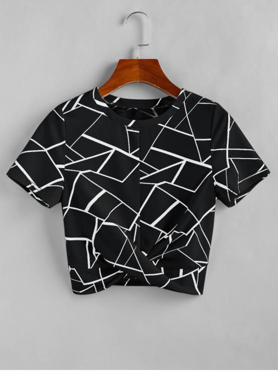 affordable ZAFUL Twist Geometry Cropped T Shirt - BLACK M