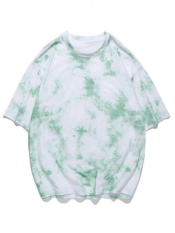 Kurzärmliges T-Shirt mit Batikdruck - Jadegrün 3XL