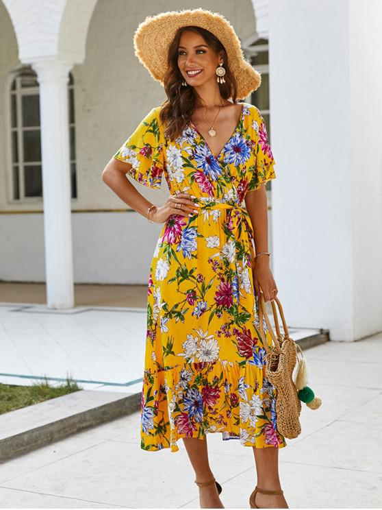 online Floral Printed Belted Surplice Dress - YELLOW XL