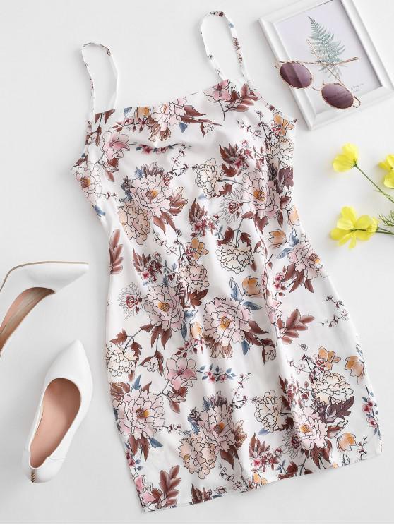 women Tie Back Floral Cami Mini Dress - WHITE M