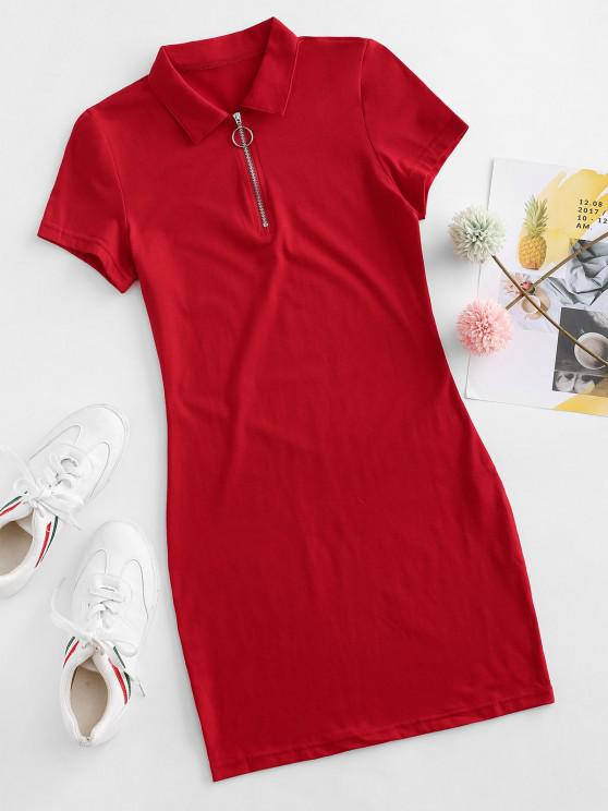 ladies Half Zip Bodycon Mini Dress - LAVA RED L