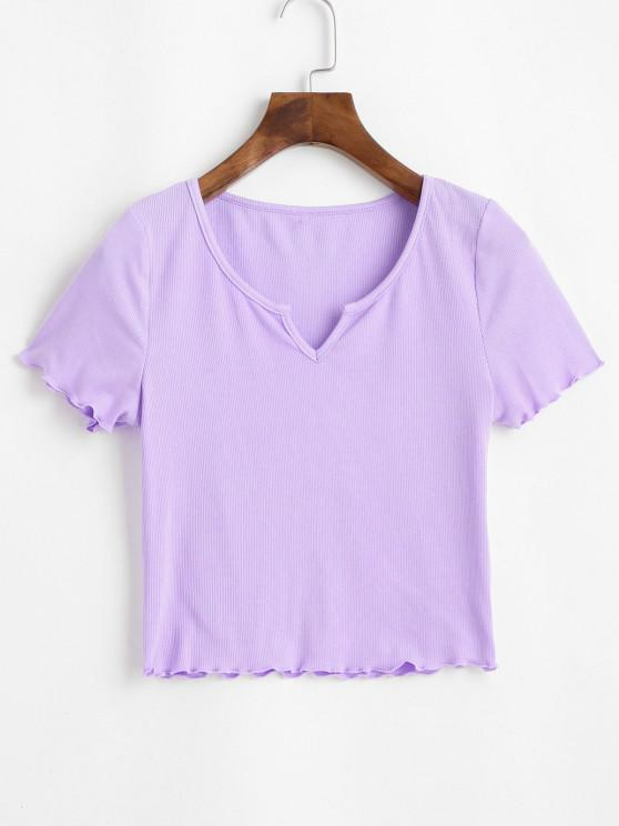 best ZAFUL Ribbed Lettuce Trim Cropped Tee - MAUVE L
