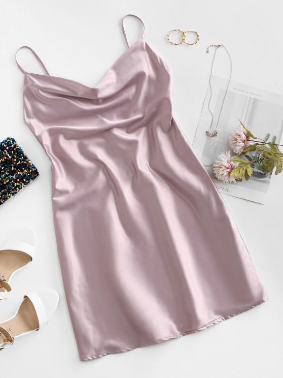 fancy Cami Cowl Front Satin Mini Dress - LILAC M