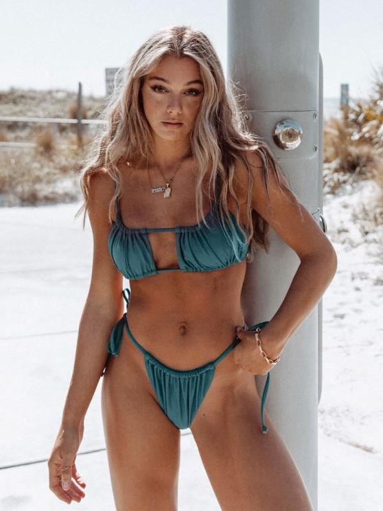women Jessica Stockstill x ZAFUL Ruched Tie Side Bikini Swimsuit - PEACOCK BLUE M