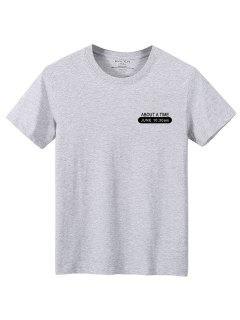 T-shirtLettre à Col Rond - Gris Xs