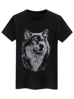 Basic Animal Wolf Graphic T Shirt - Black M