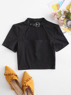 Cut Out Buckle Belted Crop Tee - Black L