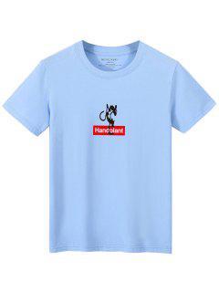 T-shirt Décontracté Lettre Graphique Imprimés - Bleu Clair Xs