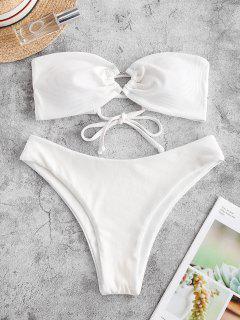 ZAFUL Ribbed Lace Up High Cut Bandeau Bikini Swimsuit - White S