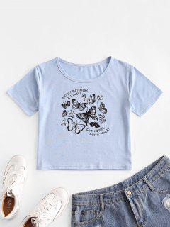 T-Shirt De Base Lettre Graphique Papillon - Bleu Ciel Léger  S