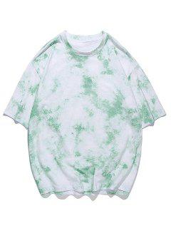 Tie-dye Print Short Sleeve Tee - Jade Green 3xl
