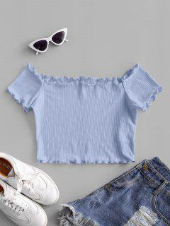ZAFUL Off Shoulder Lettuce Trim Crop Tee - Powder Blue Xl