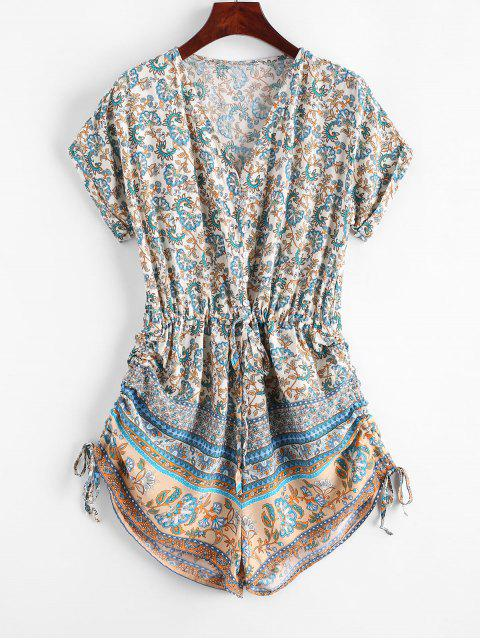 sale Button Loop Cinched Bohemian Printed Romper - MULTI-A S Mobile