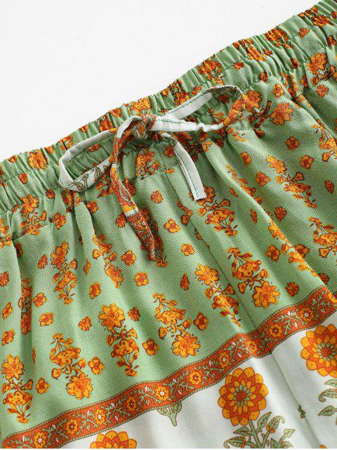 fancy Drawstring High Waisted Floral Shorts - MULTI-B S Mobile