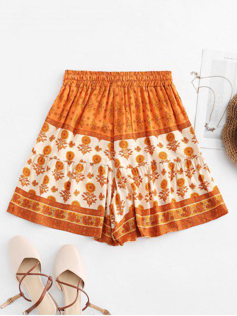 shops Drawstring High Waisted Floral Shorts - MULTI-A M Mobile