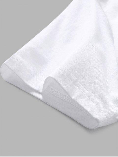 T-Shirt Casuale con Grafica di Lettere - Bianca XL Mobile