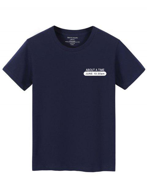 Camiseta Texto com gola redonda - Cadetblue XS Mobile