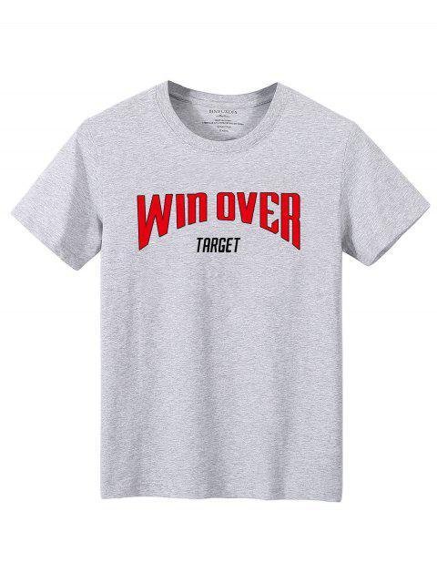 T-shirt Lettre Slogan Imprimé - Gris XS Mobile