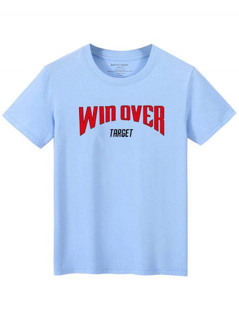 T-shirt Lettre Slogan Imprimé - Bleu clair XL Mobile