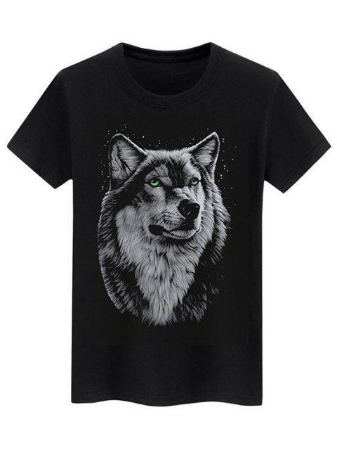 T-shirt Semplice con Grafica di Lupo - Nero XS Mobile