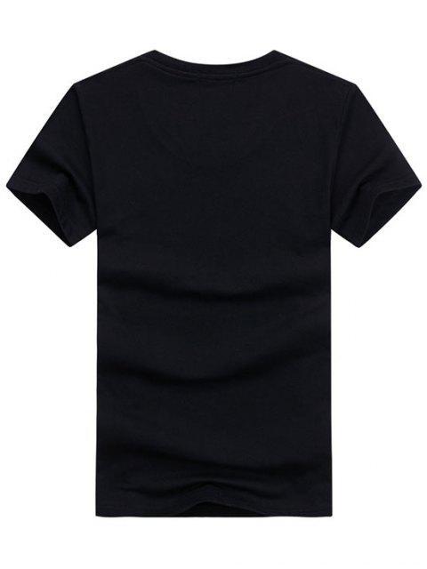 online Basic Animal Wolf Graphic T Shirt - BLACK M Mobile