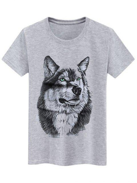 latest Basic Animal Wolf Graphic T Shirt - GRAY XL Mobile