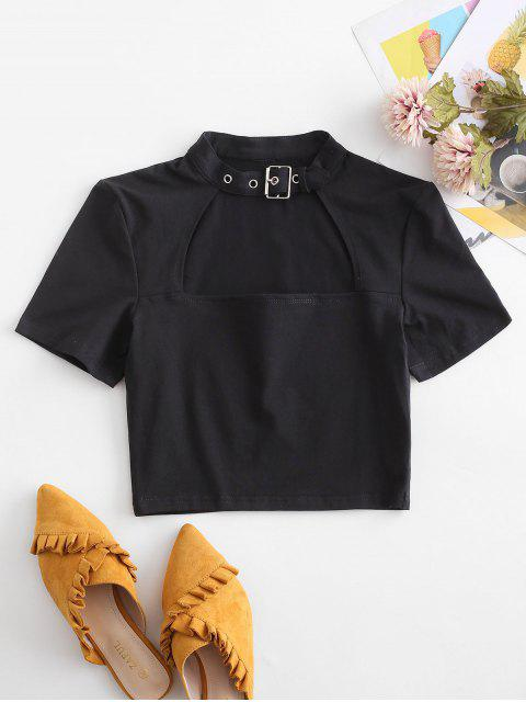 T-Shirt Corta con Cintura e Fibbia - Nero L Mobile