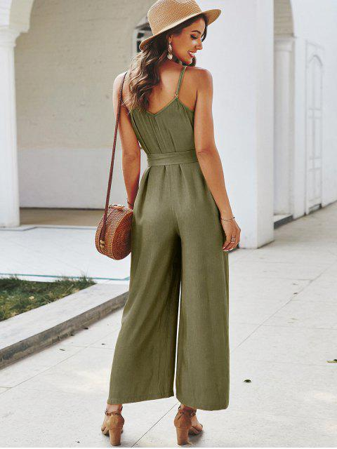 outfit Buttoned Belted Cami Jumpsuit - GREEN XL Mobile