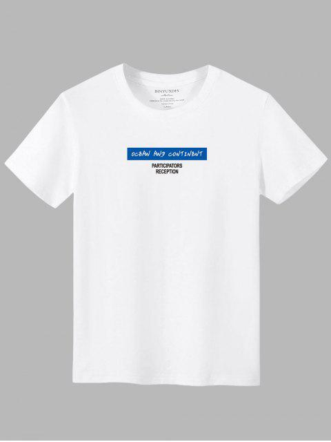 T-Shirt Casuale Grafica a Lettere - Bianca XL Mobile
