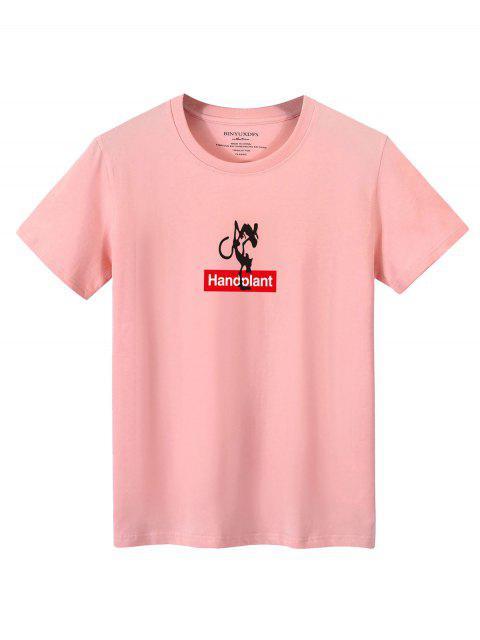 T-shirt Décontracté Lettre Graphique Imprimés - Rose clair XL Mobile