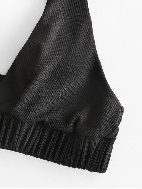 ZAFUL Bikini-Top mit Gerippten Rüschen - Schwarz M Mobile