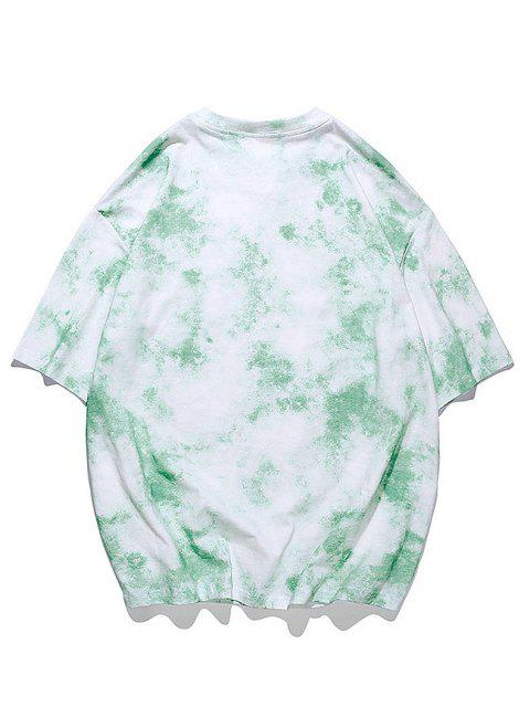 affordable Tie-dye Print Short Sleeve Tee - JADE GREEN 3XL Mobile