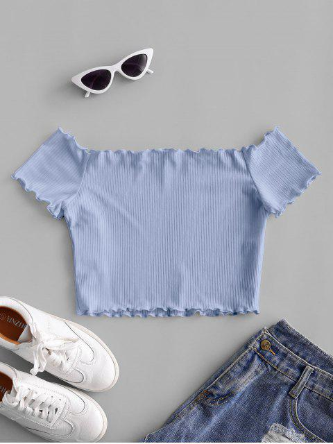 online ZAFUL Off Shoulder Lettuce Trim Crop Tee - POWDER BLUE XL Mobile