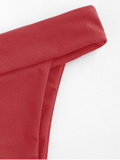 hot ZAFUL High Cut Wide Waistband Ribbed Bikini Bottom - LAVA RED S Mobile