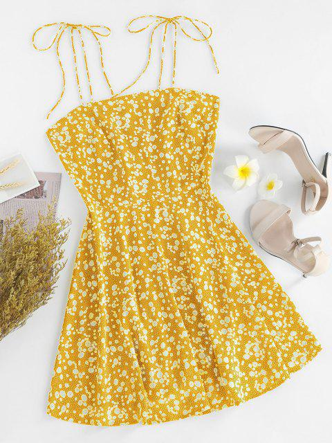 online ZAFUL Ditsy Print Tie Shoulder Sleeveless Dress - SUN YELLOW XL Mobile