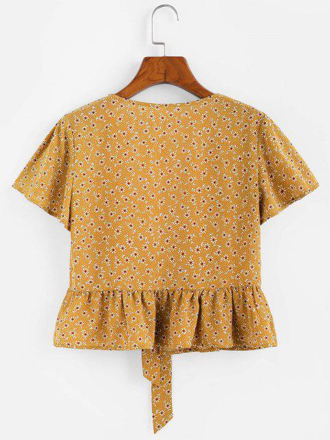 affordable ZAFUL Flower Butterfly Sleeve Plunging Peplum Blouse - GOLDEN BROWN L Mobile