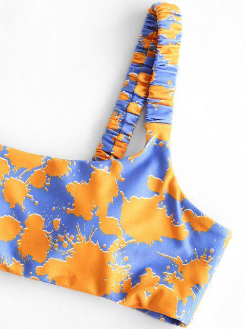 latest ZAFUL Ruched Print Low Rise Bikini Swimwear - MULTI-A L Mobile