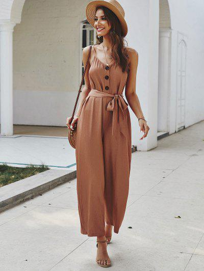 Buttoned Belted Cami Jumpsuit - Rust S