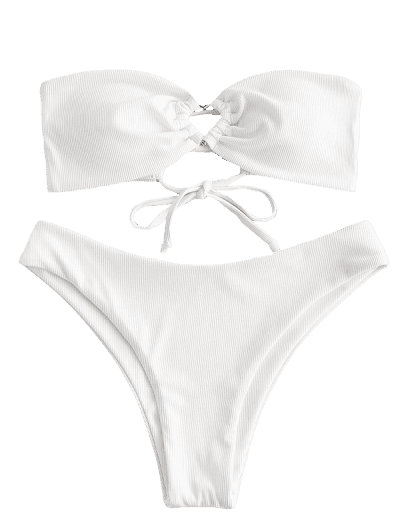 ZAFUL Ribbed Lace Up High Cut Bandeau Bikini Swimsuit
