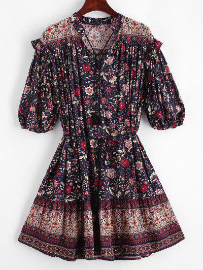 Bohemian Printed Tassels Mini Dress